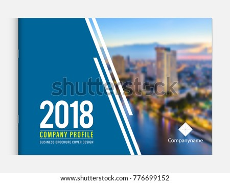 Business brochure cover design template corporate company profile or annual report catalog magazine flyer booklet leaflet. Cover page A4 landscape vector EPS-10 sample image with Gradient Mesh.