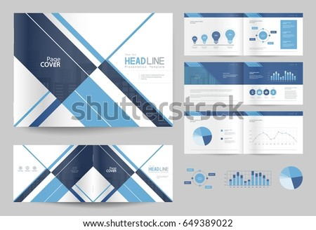 business brochure design template and page layout for company profile, annual report,with page cover design #649389022
