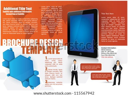 Business brochure design template with a 3d tablet and for 3d brochure design