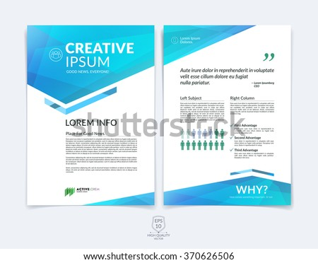 Business brochure, flyer and cover design layout template with blue and green geometric triangle shapes and colourful blurred backgrounds. Vector illustration.