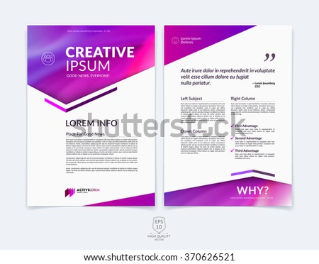 Business brochure, flyer and cover design layout template with red, pink and purple geometric triangle shapes and colourful blurred backgrounds. Vector illustration.