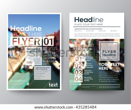 business brochure flyer design layout template with blur background