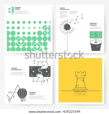 Business brochure flyer design layout template, with concept icons: Company strategy