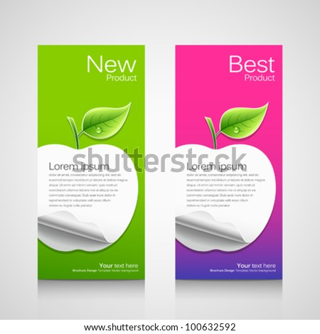 Business brochure template, concept apple green and pink background, vector illustration
