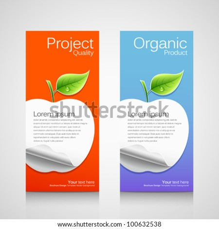 Business brochure template concept apple orange and blue for Apple brochure templates