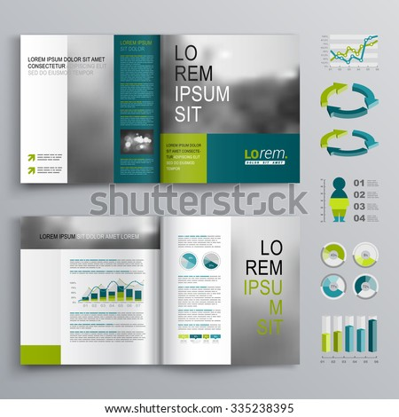 Business brochure template design with blue and green shapes. Cover layout and infographics