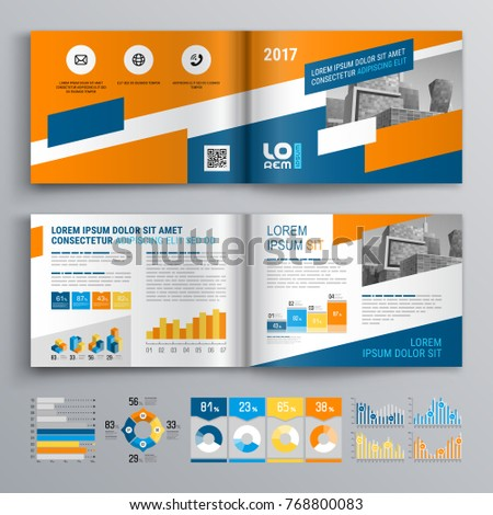 Business brochure template design with blue and orange elements. Cover layout and info graphics