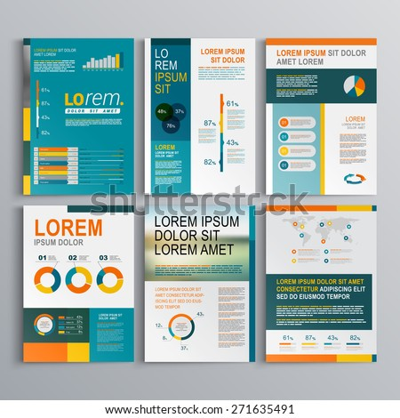 Business brochure template design with color square shapes. Cover layout and infographics