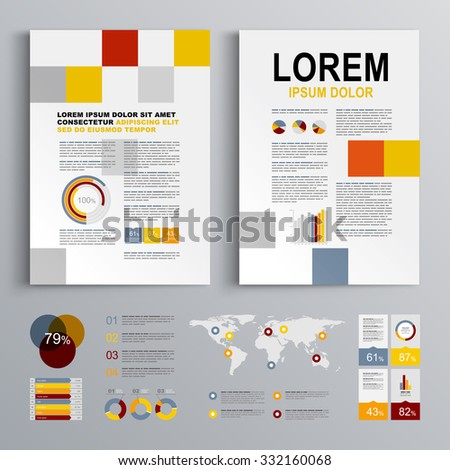 Business brochure template design with color square shapes. Cover layout and infographics #332160068