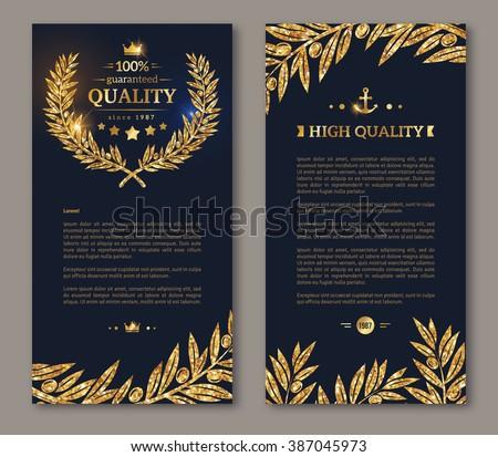 Business brochure with golden laurel wreath and gold confetti on dark background. Vector illustration. Glittering premium vip design. Olive branches Decor