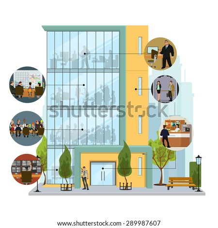 Business building facade. Office building exterior with an illustration of workers. Vector illustration in a flat style.