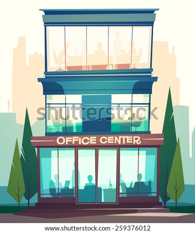 Business building facade. Vector illustration.