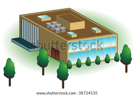 Business building isolated on a white background.