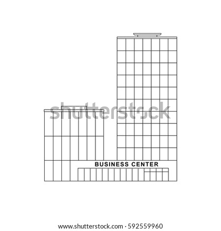business building line drawing