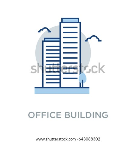 Business Building Vector Icon Flat Style