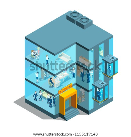 Business building with glass offices and elevators. Isometric architectural vector 3d illustration. Office glass business, architecture building facade