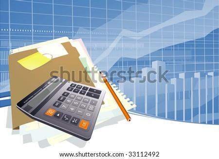 Business calculator. Vector template.