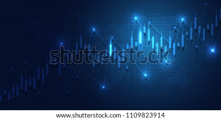 Business candle stick graph chart of stock market investment trading on blue background design. Trend of graph. Vector illustration