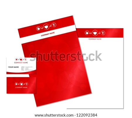 Business card and letterhead with Wellness symbol. Healthy food and fitness leads to healthy heart and life.