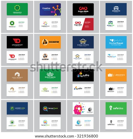 Business Card Collection with logo design for creative business, Education, Real estate, Car and Automotive, Ecology, Fashion brand, Technology brand identity.