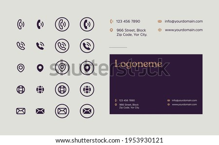 Business card Contact Information Icons Set, Collection Of Simple Glyph and Flat Icons.