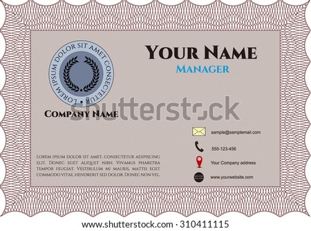 Business card. Customizable, Easy to edit and change colors. Complex background. Excellent complex design.