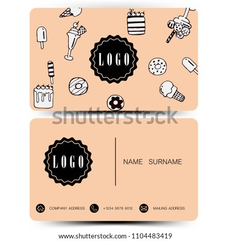 Business card design doodle concept. Use for bakery shop .Vintage color EPS10.