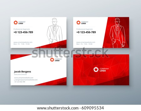 Red triangle elegant business card download vetores e grficos business card design red business card template for personal or corporate use layout with reheart Images