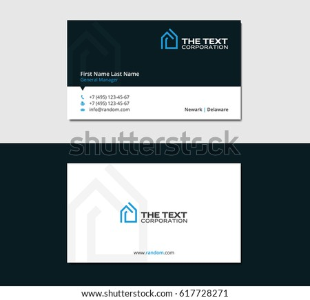business card design template with blue smart house