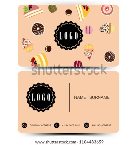 Business card design. Use for bakery shop .Vintage color EPS10.