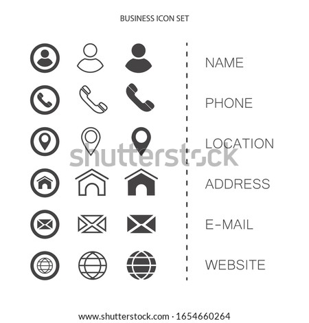 Business card, finance and communication icons. Contact information symbols.