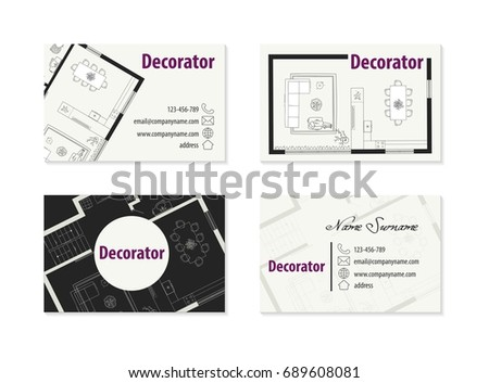 Flat Abstract Graphic Designer Business Card Vector Template
