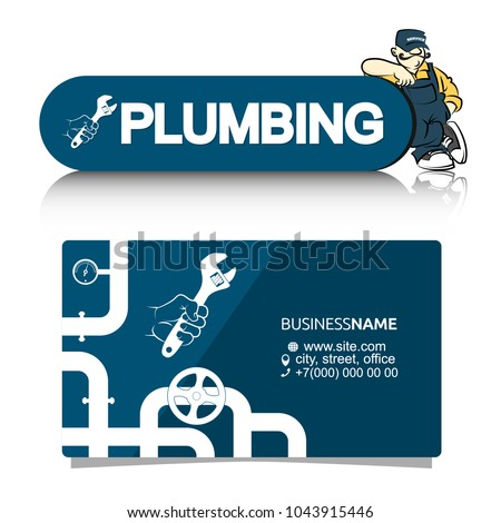 Business card for plumber vector design