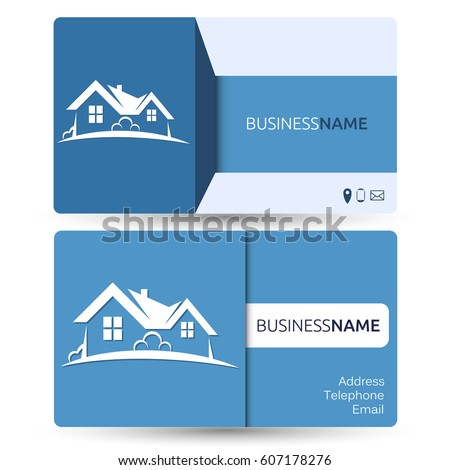 Business card for real estate and construction of houses