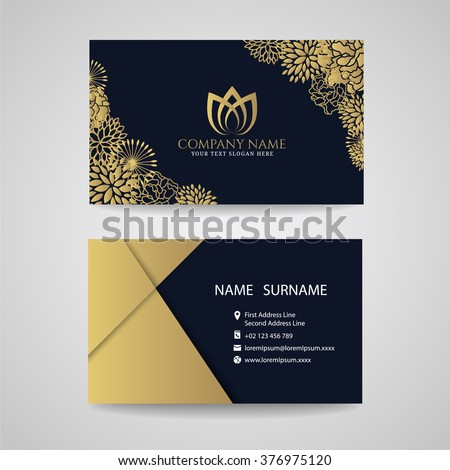business card   gold floral