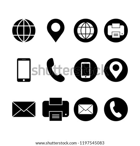 Business card icon set in modern flat design isolated on white background, contact information vector illustration for web site or mobile app
