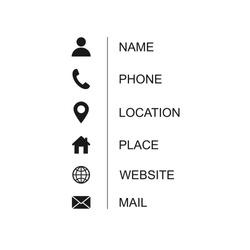 Business card icon set. Vector illustration isolated on white background.EPS 10.