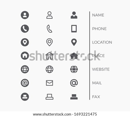 Business Card Icon Set. Vector minimal symbols with sign of name, phone, location, website, fax
