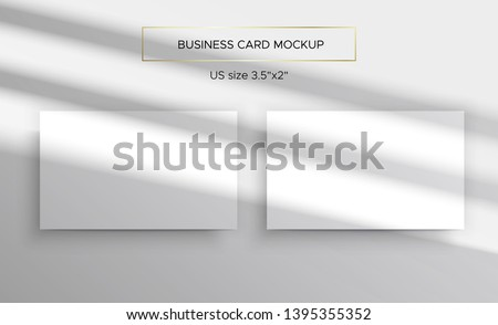 Business card Mockups. Overlay on top of the shadows of natural lighting. Photorealistic vector illustration. Scene shadows from the window. Business cards 3.5x2 inch. Minimalistic and clean layout.
