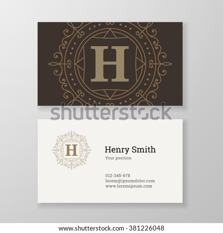 Business card monogram emblem letter H template design. Ornament design vector illustration. Good for personal sign