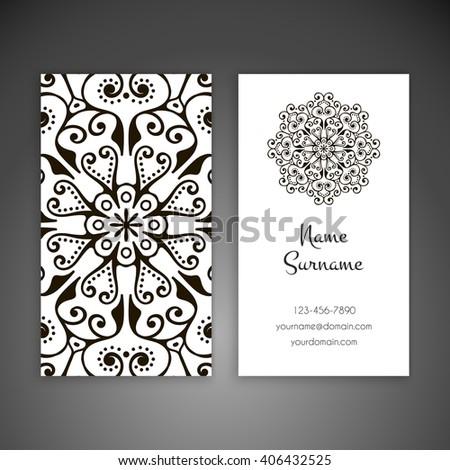 Business card or invitation. Vintage decorative elements. Oriental pattern, vector illustration. Islam, Arabic, Indian, turkish, pakistan, chinese, ottoman motifs