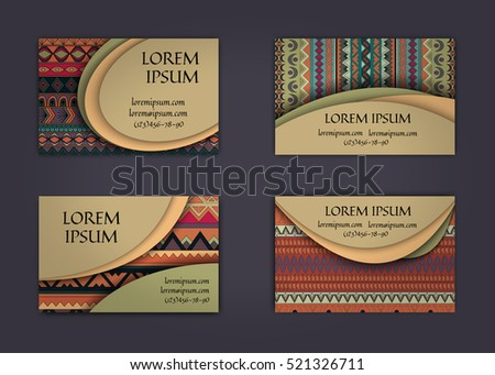 business card or visiting card template with boho style pattern background. Abstract wavy layout with ethnic elements.