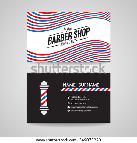 Business card - red blue and white wave for barber shop vector design