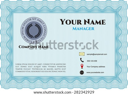 Business card, retro frame style