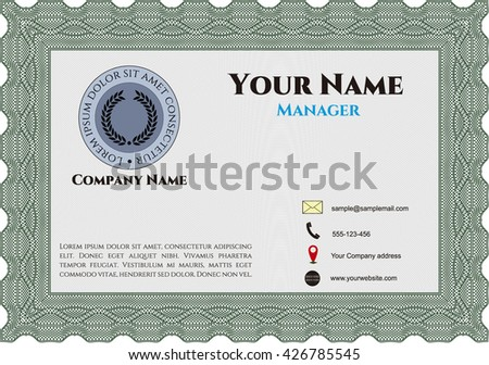 Business card, retro style. Vector illustration. Artistry design. With complex linear background.