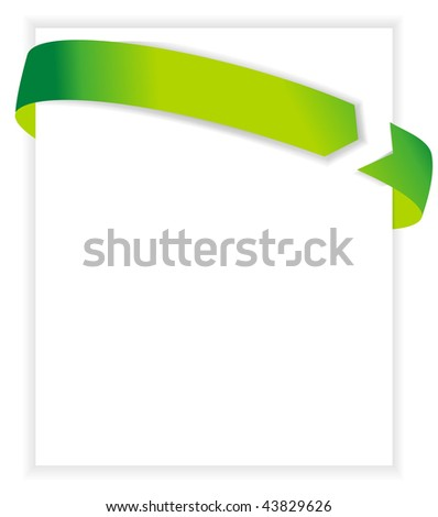 business card ribbon with white blank paper. vector illustration