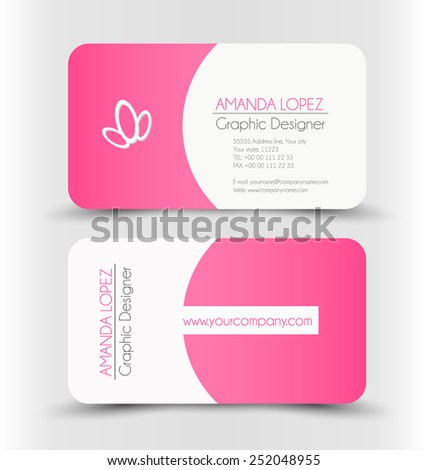 Pink business card design free vector 123freevectors colourmoves