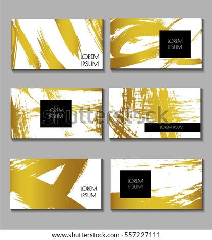 Business card set. Templates for Brochures, Flyers, Mobile Technologies, Applications,Logo, Banners. Abstract Modern Backgrounds. Golden elements. Brush stroke