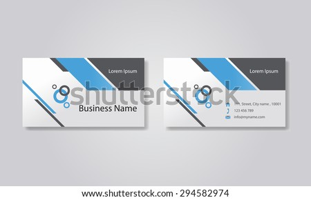 Cool Blue Business Card Template Vector - Business card templates designs