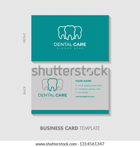 Business Card Template Design. Dental logo design template. creative sign. Dental Clinic Logo Tooth abstract design vector template Linear style.